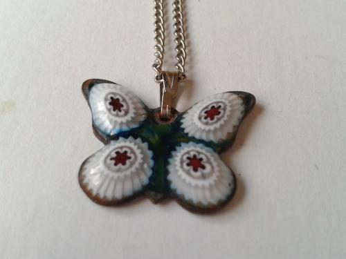 Venetian Murano millefiore butterfly pendant