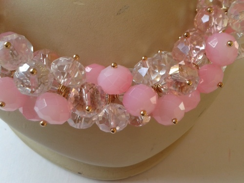 Candy Pink Crystal Collar Necklace