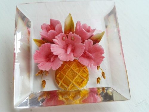LOVELY floral lucite brooch for MOTHER'S DAY